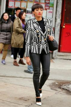 ecstasymodels:  Kat Graham's Balmain's Black and White Jagged Leaf Print Blazer Glam Chic