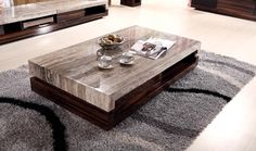 Marble top modern coffee table with cherry and black texture wood base - Marble coffee table set