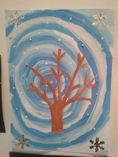 Winter Art Projects, Winter Crafts For Kids, School Art Projects, Winter Kids, Art For Kids, Christmas Art, Winter Christmas, Art Connection, Winter Trees