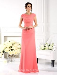 A-Line/Princess Bateau Short Sleeves Floor-Length Chiffon Long Dresses