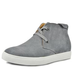 Grey elevator shoe uk that make men taller 6cm / 2.36inches lace-ups casual shoe