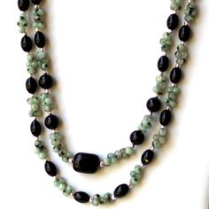 Double Strand Sage Green Black Natural Stone by ALFAdesigns, $89.99