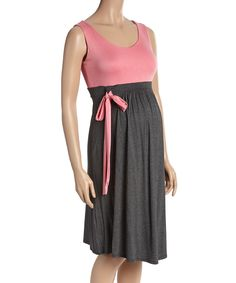 Look at this Charcoal & Pink Bow Maternity Scoop Neck Dress - Plus Too on #zulily today!