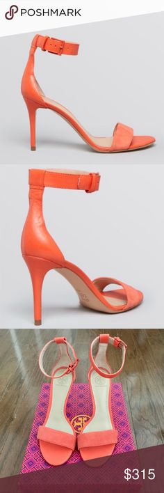 "NWT TORY BURCH Ankle Strap Suede Sandals Orange NWT Tory Burch open toe ankle strap suede sandals in Poppy Coral (style # 51148630). Color is a soft orange. Heel height is 3.5"". Purchased last summer from Bloomingdales. Brand new with box! Sold out everywhere. Cleaning out my closet but don't NEED to sell these. Tory Burch Shoes Sandals"
