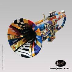 Juleez Colored Hand Painted Trumpet by Julie Borden