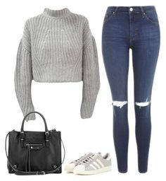 """Untitled #120"" by simonakolevaa ❤ liked on Polyvore featuring Topshop, adidas and Balenciaga"