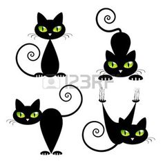 kedi%3A+Green+Eyes+Vector+%C3%87izim+ile+Black+Cat+%C3%87izim