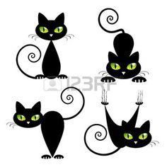 silhouette de chat noir: Chat noir avec les yeux verts Vector Illustration