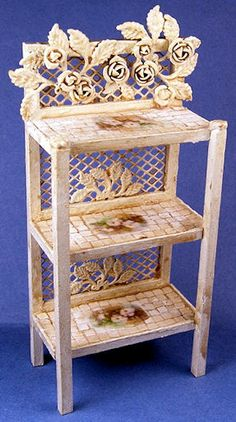 "http://spminiatures.com/  Etagere $59 ""Rusty"" cream Hand painted tiles By Roberta Solari 2"" wide, 1 1/8"" deep, 4 1/4"" tall"