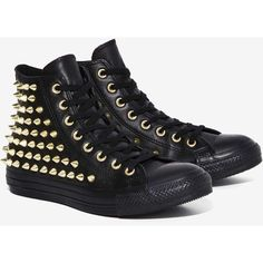 Converse All Star Studded Leather Sneaker ($125) ❤ liked on Polyvore featuring…