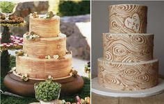 Woodgrain wedding cakes