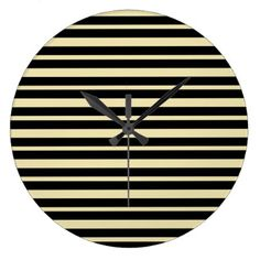 Thick and Thin Beige and Black Stripes Large Clock - home decor design art diy cyo custom