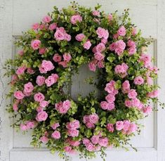 Pink Rose Wreath, Summer Door Wreath, Front Door Wreath ...