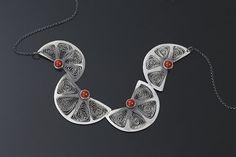 Sweet oranges  silver coral filigree necklace by SztukKilka