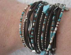 Triple Leather Wrap Bracelet With S..