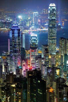 Watch the light show in Hong Kong.
