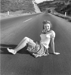 Norma Jeane 1945 On the Road Vintage Oversized Print | From a unique collection of black and white photography at https://www.1stdibs.com/art/photography/black-white-photography/