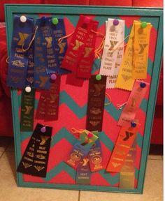Ribbon award display idea for Maysun's room except no chevron