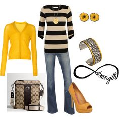 yellow and black love, created by fashion-diva1001.polyvore.com
