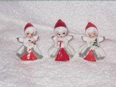 Vintage Christmas Napco miniature Angel candy cane tree present figurine Ornament  Decoration mini Spaghetti Trim. $28.00, via Etsy.