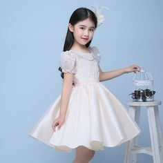 78.24$  Buy now - http://alijs5.worldwells.pw/go.php?t=32719457046 - champnge appliques flower girl dresses for wedding birthday party puff sleeve doll collar ball gown pageant dresses for girls 78.24$