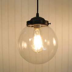 Biddeford. Clear Globe PENDANT Light by LampGoods on Etsy