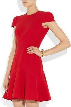 Alexander McQueenWool-crepe dress at The Outnet #red #dress