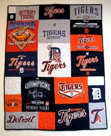 Tee Quilters -      Detroit tigers quilt!! Made from recycled t-shirts and in stock now!