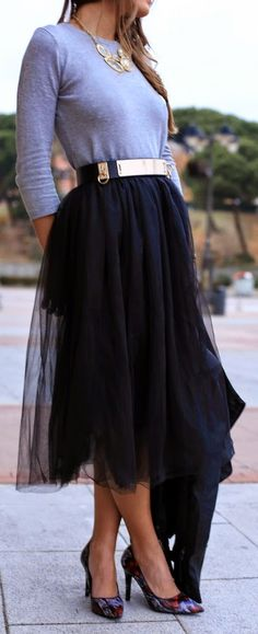 Faux Tulle Skirt with Grey Top and Pretty Pumps   ...