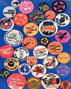 Poster of anti fascist and anti racist badges, Pin And Patches, Iron Patches, Pandoras Box, Punk Outfits, Pin Badges, Punk Rock, Illustrations Posters, Cool Pictures, Patches