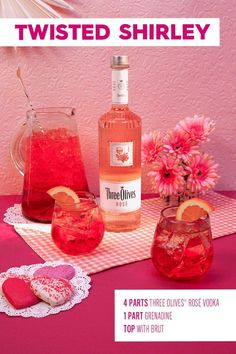 This Twisted Shirley cocktail will surely make your mom smile this Mother& Day! Mix together 4 parts Three Olives® Rosé Vodka, and 1 part grenadine. Pour into a glass with ice, and top with brut. Fancy Drinks, Vodka Drinks, Cocktail Drinks, Cocktail Recipes, Alcoholic Drinks, Beverages, Alcohol Drink Recipes, Summer Cocktails, Mixed Drinks