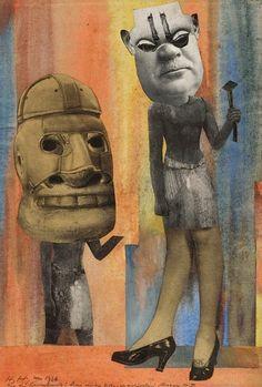 Hannah Höch, Aus der Sammlung : Aus einem Ethnographischen Museum Nr. IX (collage and watercolours on marouflaged paper), 1929.