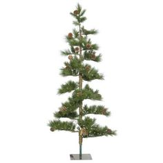 Vickerman Artificial Christmas Tree 7.5' x 42'' Mountain Pine 250 Warm White LED Lights, Green