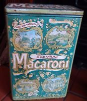 Vintage large display tin Macaroni pasta tin made in England 9.5 inches tall