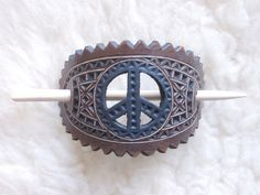 Hand carved hippie sign hair barrette  peace by DIONESAMBROZIUS, $11.00