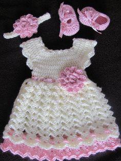 Baby Dress Newborn Dress Dress Set Dress Headband and Crochet Dress Girl, Crochet Baby Dress Pattern, Baby Girl Crochet, Crochet For Kids, Crochet Baby Sweaters, Crochet Baby Clothes, Crochet Patterns For Beginners, Baby Knitting Patterns, Crochet Projects