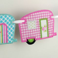 """Vintage Camper Banner In The Hoop Project Machine Embroidery Designs Applique Patterns ITH in 4 variations and in 4 sizes 4"""", 5"""", 6"""" and 7"""""""