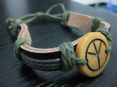 PUNK Handmade leather hemp rope in hand telescopic by sevenvsxiao, $8.00