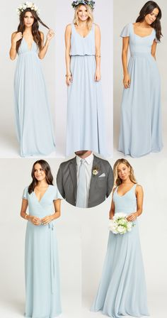 b824a8a17 Show Me Your Mumu Steel Blue Stripe Nico Neck Tie and Steel Blue Chiffon  Bridesmaid Dresses