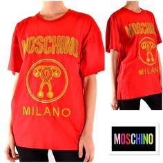 Moschino Women T-Shirt Moschino, Table Sizes, Red Pattern, T Shirts For Women, Clothes For Women, Clothing, Sleeves, Mens Tops, Cotton