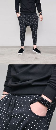Dot Drop Crotch Ankle Baggy-Sweatpants 355 by Guylook.com Great quality light-weight cotton poly spandexblends with excellent flexibility Flattering slim drop baggy cut  Generously sized thighs & fitted from the knees Super comfy & great-looking Machine-wash cold inside-out. Hang-dry in the shade