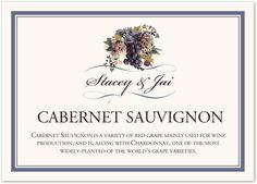 Blue Grapes and Chicory Wine Trivia Wedding Table Name/Memorabilia Card