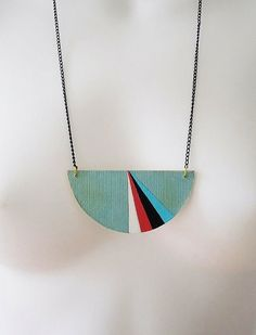 geometric necklace .. made from vintage book covers