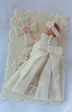 FONDANT CHRISTENING CAKE Topper Christening by BabyCakesByJennifer, $35.00