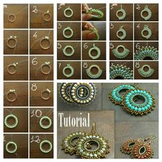 Square stitch around a ring earring tutorial and pattern. How to make diy bead jewellery Seed Bead Jewelry, Bead Jewellery, Jewelry Findings, Diamond Jewelry, Beaded Earrings Patterns, Beading Patterns, Jewelry Crafts, Handmade Jewelry, Jewelry Ideas