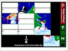 """Holiday puzzle pics fractions"" (Fracciones de Navidad) Fractions, Bingo, Happy Holidays, Puzzles, Map, Ideas, Maths Area, Interactive Activities, Teaching Resources"