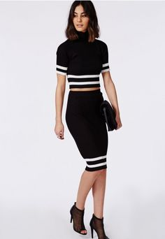 Genevieve Rib Stripe Midi Skirt Black - Skirts - Missguided