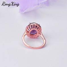Purple Crystal Zircon Rings – Monaca Beauty Vintage Rose Gold, Vintage Rings, Engagement Gifts, Mother Gifts, Wedding Bands, Gemstone Rings, Crystals, Purple, Jewelry