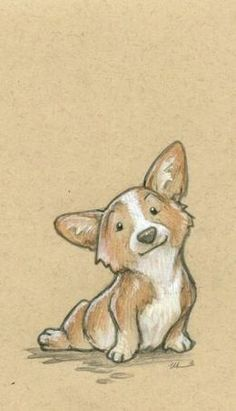 In Which I Gush About Frozen For A Few Minutes Corgi Zeichnung Illustration Corgi Drawing, Cute Dog Drawing, Cute Drawings, Drawings Of Dogs, Sketches Of Dogs, Puppy Drawings, Cute Corgi, Cute Puppies, Dog Illustration