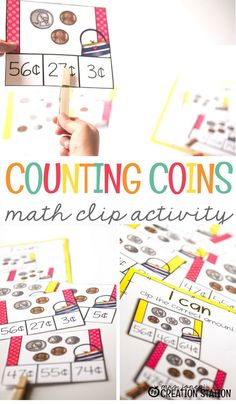 A lot of my students knew about coins when they came to the first grade, but they didn't know how to count those coins. A Quick Way to Practice Coin Counting is with these free printable math clip activity cards. #freeprintable #coinactivity #math #mathactivity #teachkidstocountcoins #firstgrade #secondgrade #mrsjonescreationstation